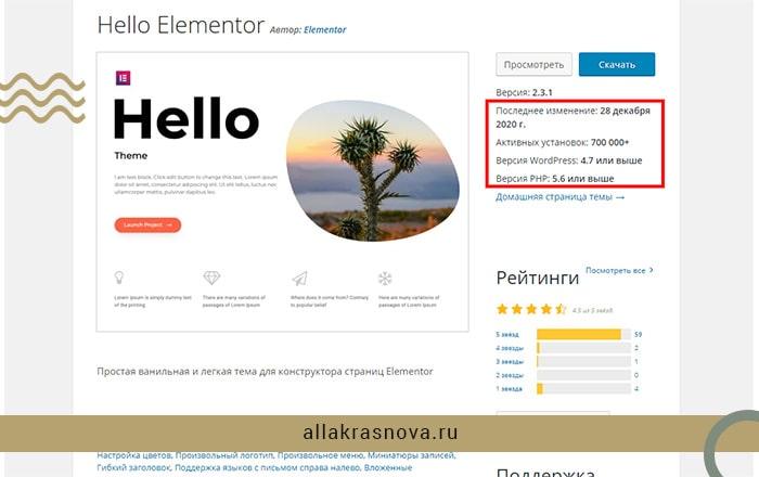 Тема Hello Elementor для сайта WordPress