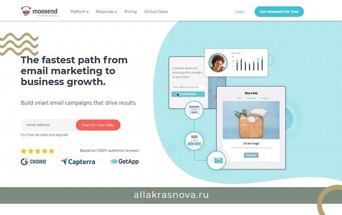 Платформа email маркетинга Moosend